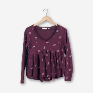 Altar'd State Burgundy Thermal Babydoll Top (S)